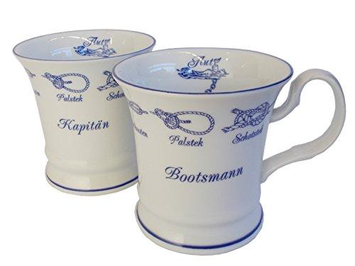 Müller Porzellan Manufaktur 2er Set Maritime Kaffeebecher Kapitän und Bootsmann Barock kursive Schrift Knoten