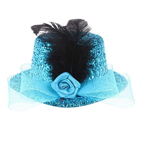 FENICAL Mini Chapeau Haut de Forme Plume Épingle à Cheveux Coiffure Scène Performance Chapeau pour Femmes Dames (Lac Bleu)