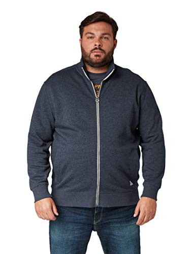 Tom Tailor Men Plus Herren Strick & Sweatshirts Schlichte Sweatjacke Washed Knitted Navy Melange,4XL