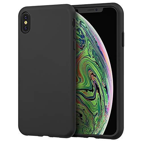 JETech Coque en Silicone Compatible avec iPhone XS Max 6,5 Pouces, étui de Protection Complète du Corps au Toucher Soyeux, Housse avec Doublure Douce en Tissu Microfibre, Anti-Chocs, Noir