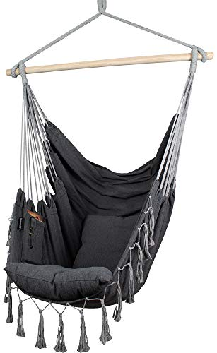 KOMOREBI Hammock Chair | Hanging Rope Swing for Indoor & Outdoor | Soft & Durable Cotton Canvas | 2...