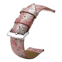 22mmピンクレザー腕時計 バンド ベルト 時計ブレスレット ステンレスdバックル付き ウォッチバンドベルト 革時計バンド女性用交換バンド