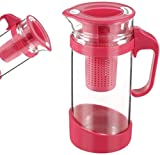 Tetera de cristal de 1300 ml, tetera de cristal de gran capacidad, tamaño grande, diámetro desmontable, diseño de red de té (color: rosa)