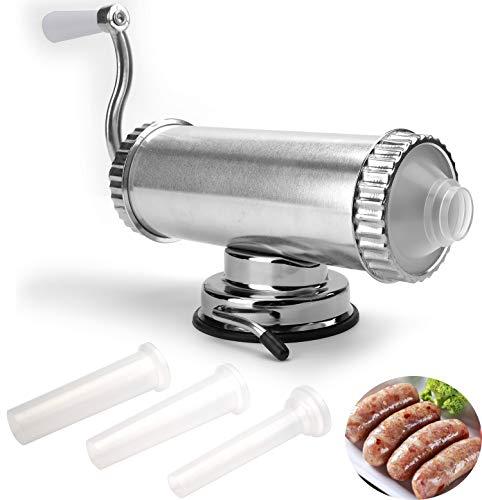 Lawei Wurstfüller Wurstmaschine Horizontale Wurstfüllmaschine mit Saugfuß und Handkurbel für Hausgemachte - 3 Tubengrößen, 2 LBS/ 1 L