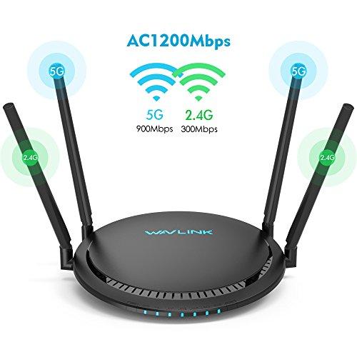 WAVLINK AC1200 Router Dual Banda TouchLink Inalámbrico Wi-Fi Gigabit Ethernet con antena Externa, Extensor de Largo Alcance, 5G 867Mbps + 2.4G 300Mbps, Botón turbo, Gestión Inteligente de Aplicaciones