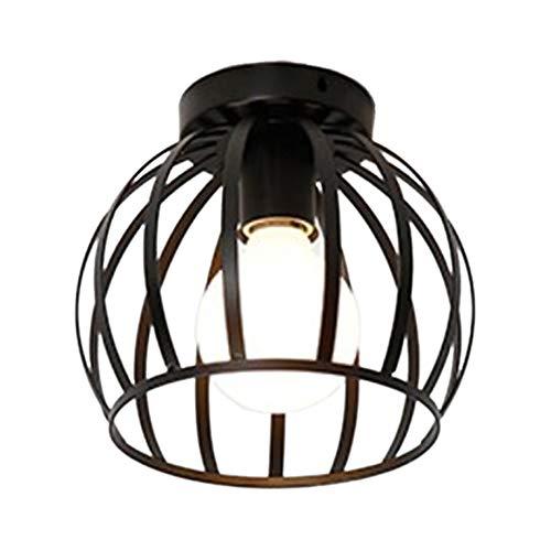Huante - Plafón industrial retro de metal, jaula de hierro negro, lámpara colgante para salón, dormitorio, café, bar, restaurante, comedor (no contiene bombillas)