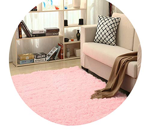 Super Soft Silk Wool Rug Indoor Modern Shag Area Rug Silky Rugs Bedroom Floor Mat Baby Nursery Rug Children Carpet,Pink,160X200cm