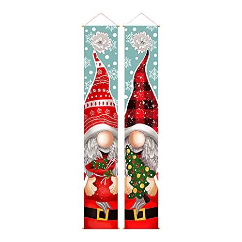 Pilvnar Letrero de Porche navideño para Puerta Delantera, Pancarta para Puerta, muñeco de Nieve de Papá Noel, Pancarta para Puerta, decoración Colgante para Suministros de Fiesta navideña de Invierno ✅