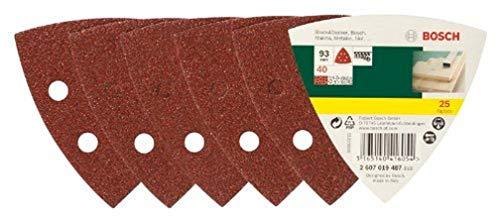 Bosch DIY 25tlg. Schleifblatt-Set verschiedene Materialien für Deltaschleifer (Körnung 40, 6 Löcher)