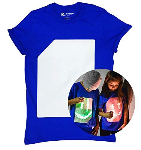Illuminated Apparel Camiseta con diseño Interactivo con luz Que Brilla en la Oscuridad (Azul/Verde, 9-11 Años)