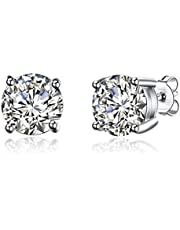 GIVA Jewellery Women's Classic Silver Zircon Stud Earrings - Pure, 925 Sterling Silver with Certificate and BIS Hallmark (8mm)