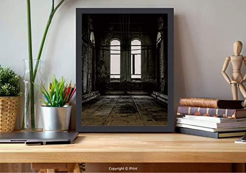 AmorFash №15461 Frame Art Wall,Industrial Decor,Vintage Grunge Floor Walls and Windows Messy Aged Wrecked Workshop Decorative,White Dark Brown, Best for Gifts