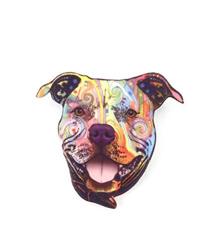 JUST.ETHEREAL Acryl Brosche Hund Pitbull Abzeichen Kleidungsstil Elegantes Accessoire Schal Handtasche Freundin Weihnachten Geburtstag Schmuck