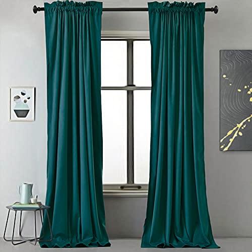 Velvet Curtains by BDRS HOME,Blackout Velvet Curtains 84 in for Living Room,Drapes for Bedroom,Luxury Gorgeous Room Darkening Decorative Soft Curtain Panels,Rod Pocket,Set of 2,52Wx84L,Dark Green