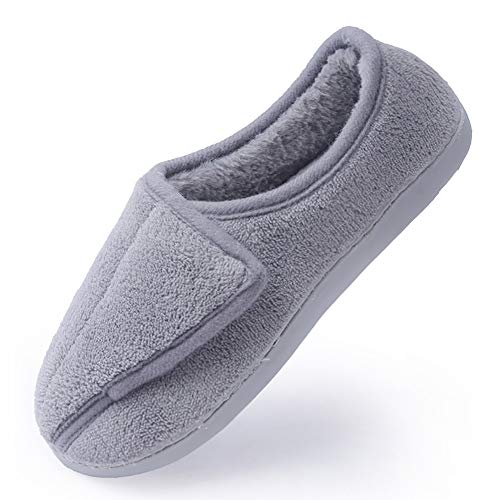 Zapatillas para mujer con memoria de espuma para diabéticos, artritis y edema, ajustables, cómodas, con dedos cerrados, color Gris, talla 38 EU