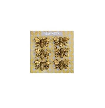 Creative Co-Op DA5141 Bee Magnet Set  6  Gold