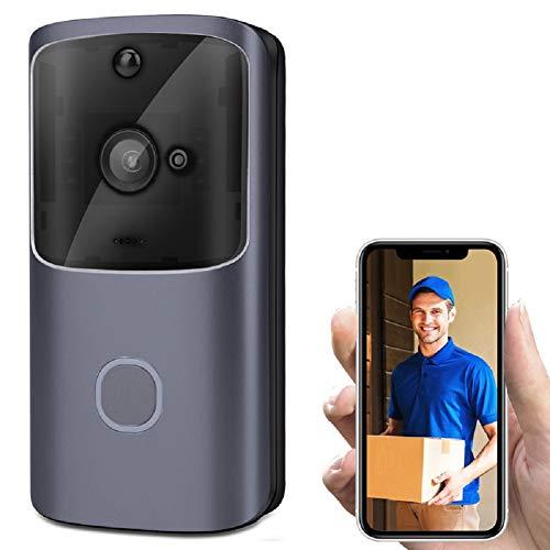 LinZec Timbre De Timbre De Video Inalámbrico, Cámara De Seguridad IP55 Impermeable HD 720P Video En Tiempo Real, Trabajo con Batería Luz Nocturna Detección De Movimiento PIR,A