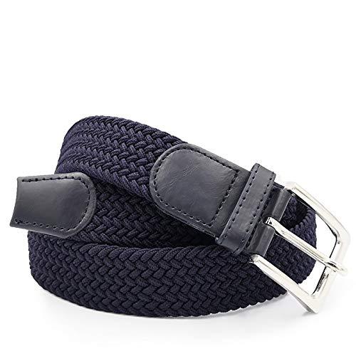 Glomy Cintura Elastica Intrecciata da Uomo, Blu Scuro, 115cm