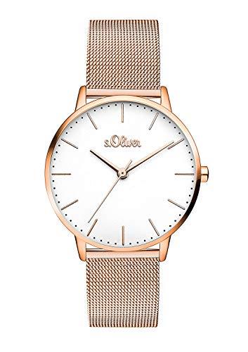 s.Oliver Damen Analog Quarz Armbanduhr mit Edelstahl Armband SO-3446-MQ