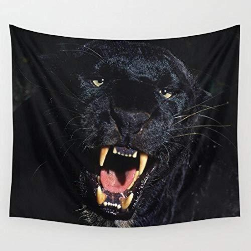 AdoDecor Tapiz de Pantera de Leopardo Negro para Colgar en la Pared, Colcha de Playa, tapices, Accesorios de decoración del hogar, 152x102 cm