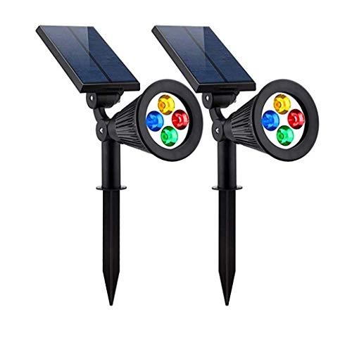 Solar Lights Wandlampen voor projector, zwenkbaar, 2-in-1, met 4 leds, RGB-licht, waterdicht, veelkleurig, helder en donker sensoren, auto nachts, veiligheidsnachtlampje (2 stuks)