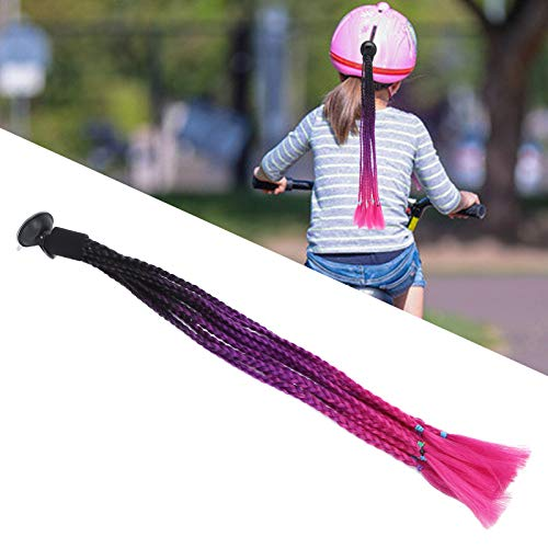 Trenzas de casco, casco de pelo extraíble, aspecto fresco, cómodo de pegar para casco de scooter para casco de motocicleta(Black purple rose red)