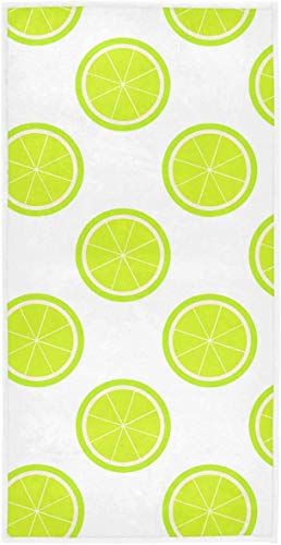 Lime Slices Hand Towels Yellow Fruit Bathroom Towel 27.5'x15.7' Face Towel Soft Absorbent Home Kitchen Bath Guest Towel
