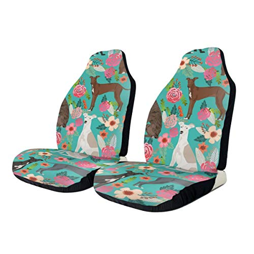 N/D Italian Greyhound Florals Fabric Best Dogs and Flowers Design 2 PCS Auto Seat Cover,Car Bucket Front Seats Protector Cushions Universal fit for SUV Sedan,Truck