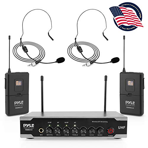 Portable Uhf Wireless Microphone System - Bluetooth Cordless Headset Lapel Lavalier Microphone Set W/ 2 Battery Operated Beltpack Transmitters, Receiver, Aux, for PA Karaoke DJ Party - Pyle PDWM2122