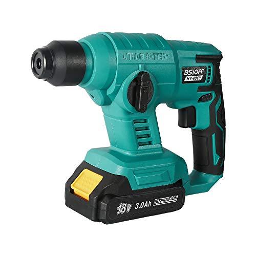 Bsioff Martillo Perforador de 18V / Martillo martillo inalámbrico con 18v 3.0ah batería y cargador (Diámetro de perforación: 20 mm, frecuencia de impacto: 0-3800 rpm,Azul)