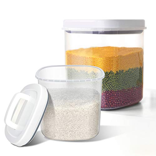 TBMax Airtight Bulk Food Storage Container - 10 Lbs + 20 Lbs Rice Storage Bin with Measuring Cup, Cereal Container for Flour, Dry Food, Kitchen Pantry Organization