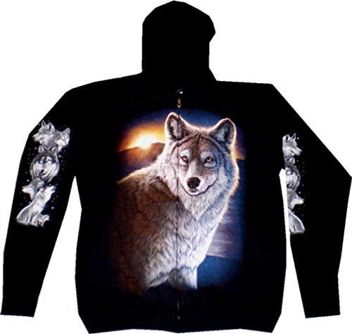 Evil Wear Herren Damen Sweatshirt Kapuzen Pullover M-XXL Motiv Wolf schwarz: Größe: XL