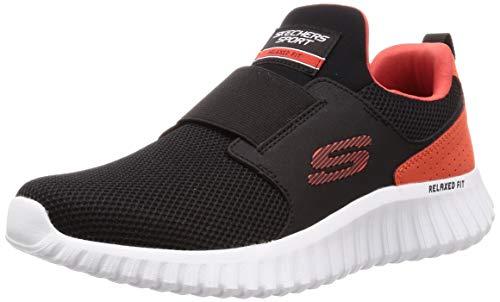 Skechers Depth Charge 2.0, Zapatillas Sin Cordones Hombre, Negro Black Mesh Pu Orange Trim, 43 Eu