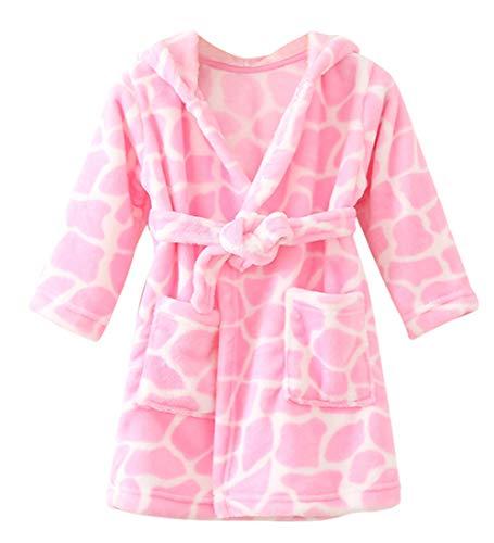 FEOYA Fleece Bademantel Kinder Flauschig Bademantel mit Kapuze Baby Morgenmantel für Jungen und Mädchen Hausmantel Kinder 2 Jahre