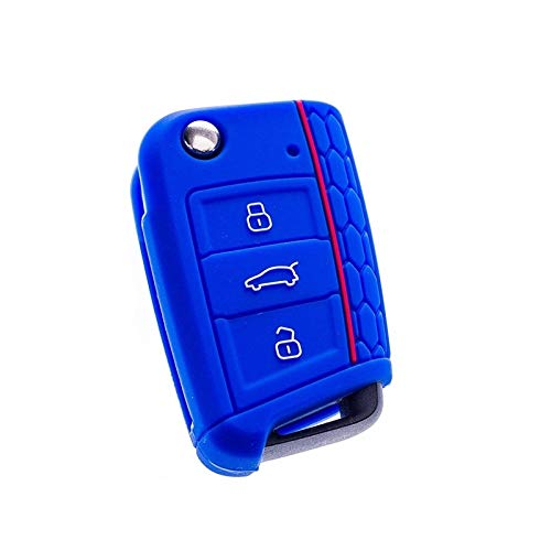 WJBABJ Cubierta de Llave de Coche 2 PCS Silicone Car Key Cover Case Shell Fob para Volkswagen FOR VW Golf 7 MK7 Skoda Octavia A7 para Seat Leon Ibiza 3 Estilismo de automóvil (Color Name : Blue)
