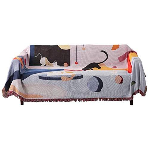 Bank te dekken Scandinavian Style cartoon patroon Cat tweezits TV-meubel Desktop dekking handdoek,Gray,160 * 260cm