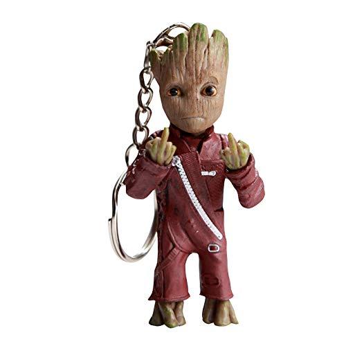 thematys Baby Groot Schlüsselanhänger - Action-Figur aus dem Filmklassiker I AM Groot (Mittelfinger)