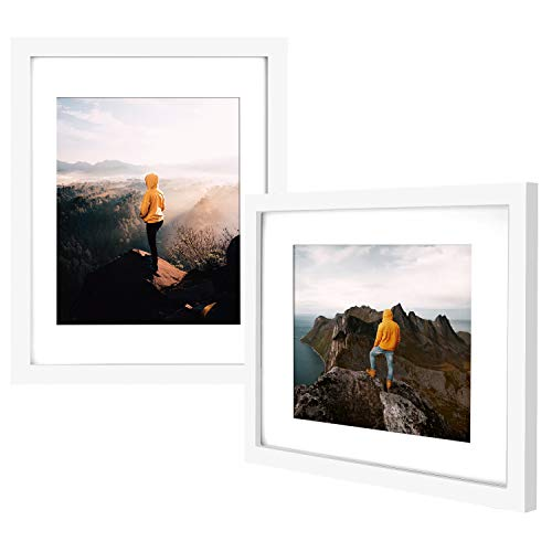 Yome 2 Pack 8x10 White Picture Frames with Mats, Photo Frames Set for Wall or Tabletop Display Pictures, Create Your Meaningful Memories, Solid Wood and Plexiglass