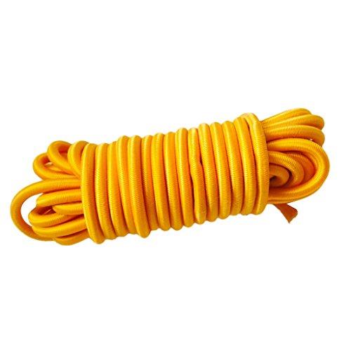 MagiDeal Sandow Tendeur Corde Elastique en Latex Anti-UV pour Barres de Toit,Remorques,Bâche,Bateaux,Kayak -4mmx5m - Jaune, Taille Unique