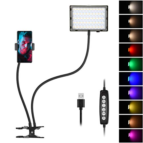 Emart Clip on RGB LED Video Light with Phone Holder Flexible Arms | Video Conference Lighting | Webcam Light for Zoom Meetings | Broadcasting and Live Streaming Lighting Kit for iPhone Laptop Computer