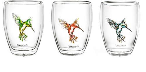 Creano doppelwandige Tee-Gläser, Cappuccino-Glas, Thermoglas Hummi im Kolibri Design, 3er Set, 250 ml in exklusiver Geschenkbox, blau/rot/grün