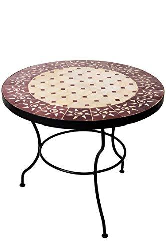 Originele Marokkaanse mozaïek tafel salontafel ø 60 cm groot rond | ronde kleine mozaïek tuintafel Mediteran | als tafel bijzettafel voor balkon of tuin | oosters 60 x 45 cm hoch Zon beige bordeaux