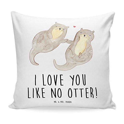 Mr. & Mrs. Panda Sofakissen, Kissenbezug, 40x40 Kissen Otter händchenhaltend mit Spruch - Farbe Weiß