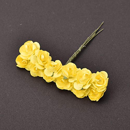 Goedkope mini papier roos kunstbloemen handen voor bruiloft decoratie scrapbooking kleine nep bloemboeket, geel, 144 stuks