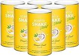 BEAVITA Vitalkost Plus - Batido dietético sustitutivo de comida - Diet Shake para pérdida de peso ligera – Solo 207 calorías - Set 6x 572g y plan de dieta de 14 días - Polvo proteico sabor piña y coco
