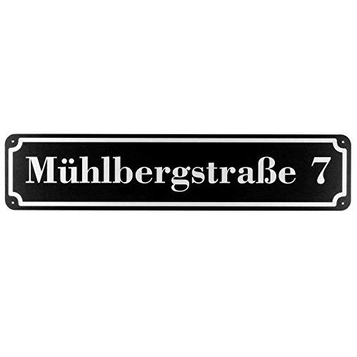 Langes Hausnummer und Straße Schild SCHWARZ 2mm Aluverbund, 50 x 11 cm jetzt selbst gestalten