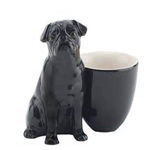 Caille céramique-Noir-Figurine-Coquetier Motif carlin