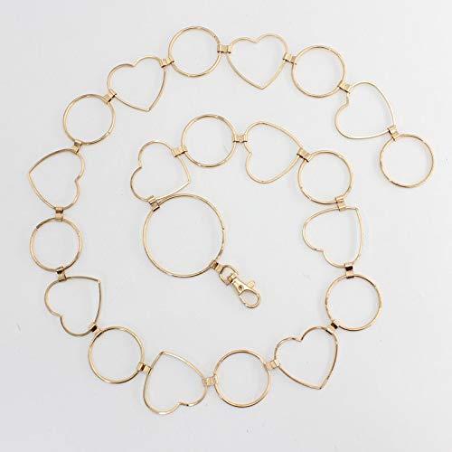 XKMY Cinturones de cintura alta de oro y plata para mujer, cintura a la moda, cinturón para fiestas, joyas, vestidos, cintura de cadena de metal (color: oro 2)