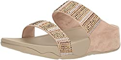 Gold Flare Strobe Slide Sandals with Rhinestones