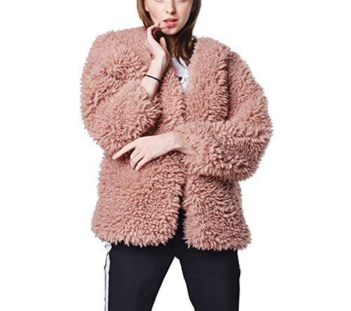 Huaishu Femme Automne Hiver Chaud Manteau Moelleux Veste Manches Longues Dames,Pink,XL